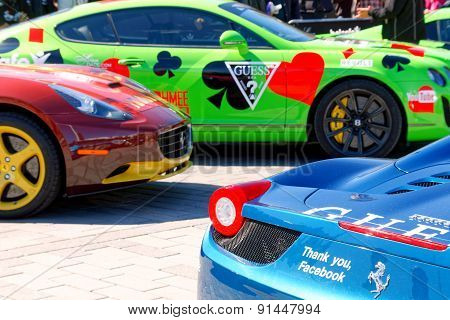 Colorful Sports-cars Before The Start Of The Public Event Gumball 3000