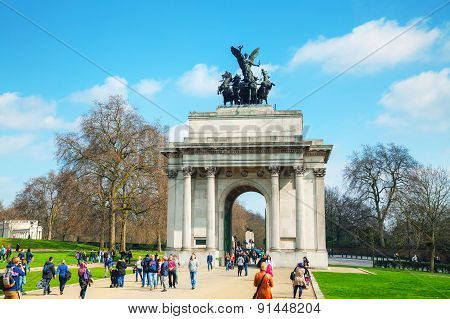 Wellington Arch Monument In London, Uk