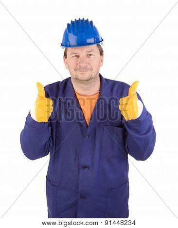 Worker in great mood.