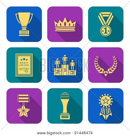 Dark Color Outline Various Awards Symbols Icons Collection.