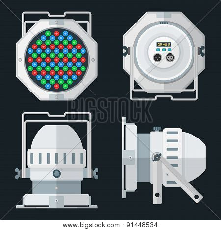 Led Par Professional Stage Lighting Projector Colored Flat Illustration Various Position.
