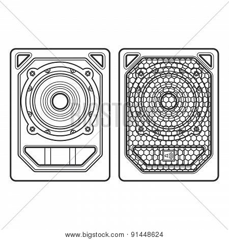 Professional Concert Tour Array Subwoofer Speakers Dark Contour Illustration.