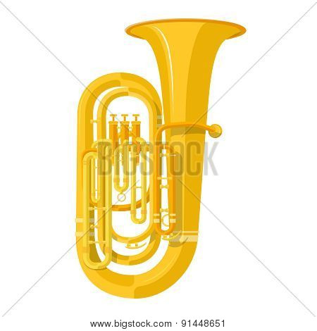 Colored Flat Style Tuba Music Instrument Vector Illustration.