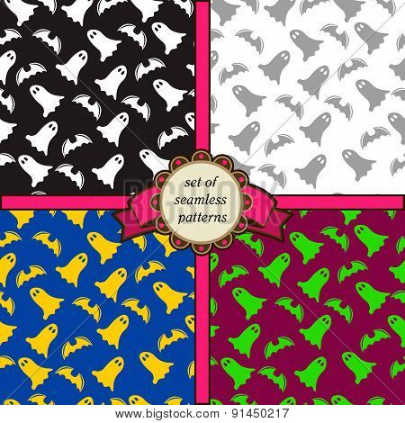 Set Of Seamless Patterns With Ghosts And Bats