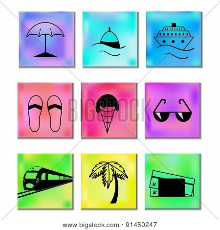 Travel And Vacation Icons Multicolored