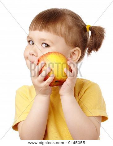 Cute Child With Red Apple