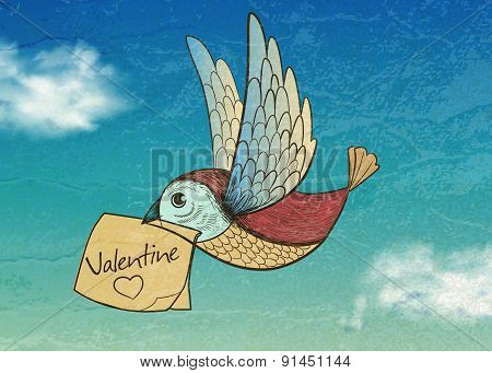 Bird With Valentine Card. Invitation