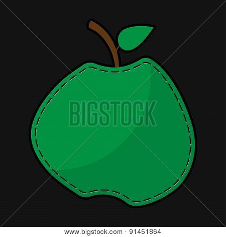 Green Seam Apple With Shadow