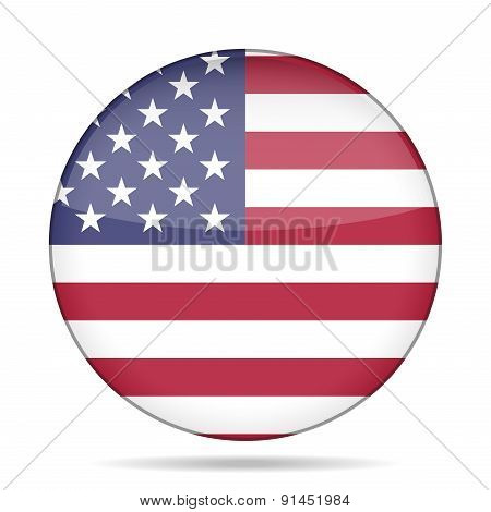 Button With Usa Flag