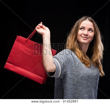 Young Happy Woman With Shopping Bag