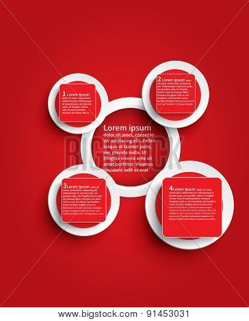 Red Infographic Glossy Background Template Design In Circle Shape, Create By Vector