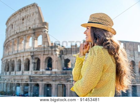 Woman In Profile Standing And Looking Into Distance In Rome