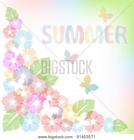 Pastel Summer Background With Flowers And Butterfly.