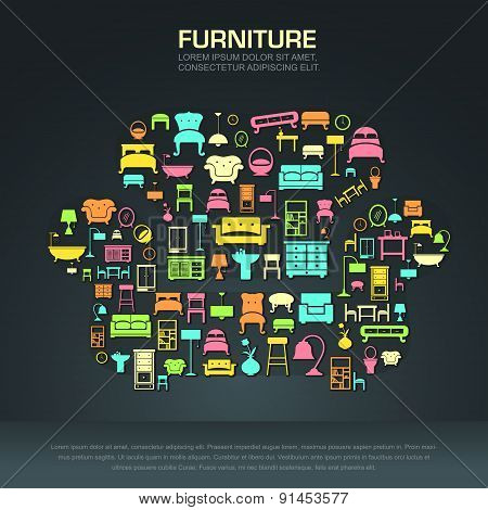 Flat Home Furniture Icon Design In A Sofa Shape, Create By Vector