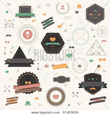 Colorful Hipster Tag And Badge Icon Collection Set In Retro Style, Create By Vector