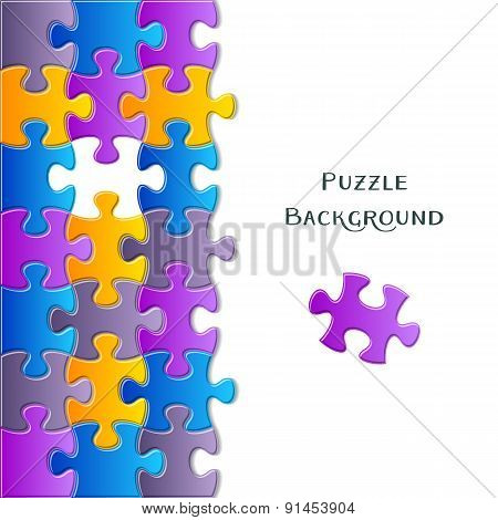 Card With Colorful Puzzle Pieces