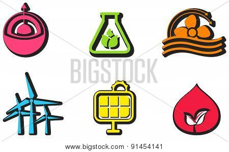 Clean And Renewable Energy Icon Design Set, Create By Vector