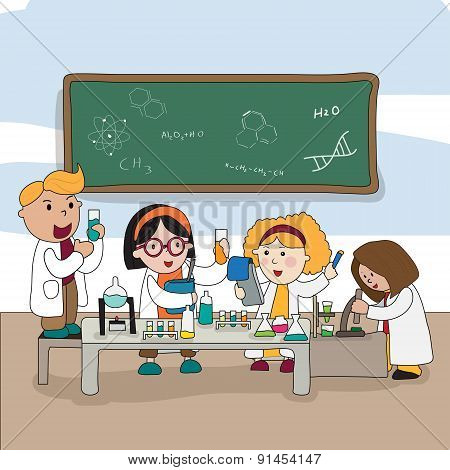 Cartoon Children Are Studying And Working In The Laboratory, Create By Vector