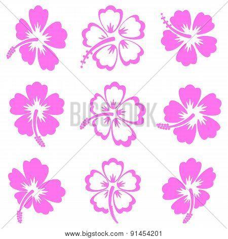 Vector Hibiscus Silhouette Icons