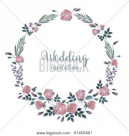 Vector Watercolor Wreath with Roses and Grass. Romantic Background for Wedding, Invitation, Valentine's Day.