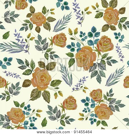 Seamless Vintage Watercolor Ornament with Yellow Roses.