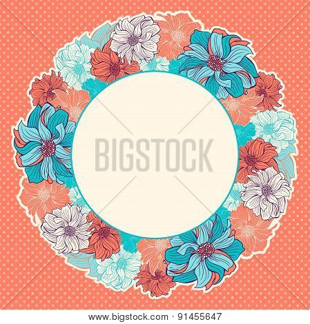 Greeting Card With Wreath Of Hand-drawn Flowers