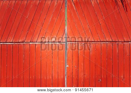 Red wooden gates