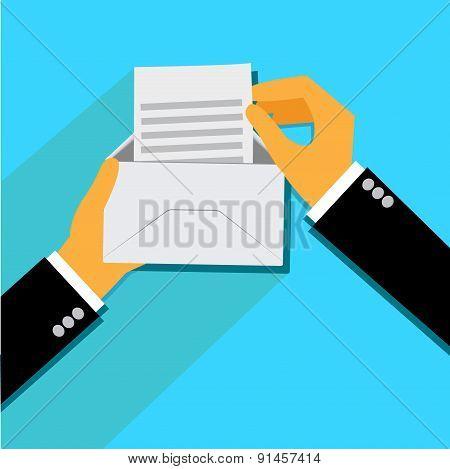 Hand, Holding, opened, Envelope, flat, style