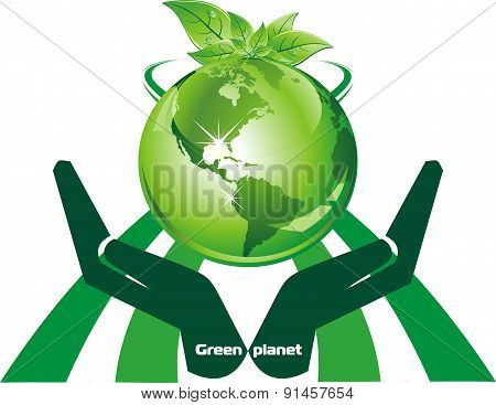 Green Planet In Hands [