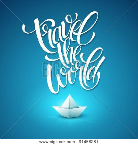 Travel the world type design with paper boat