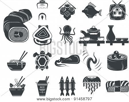 Black vector icons for asian and seafood menu