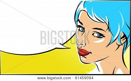 Pop art vector illustration of a woman  face