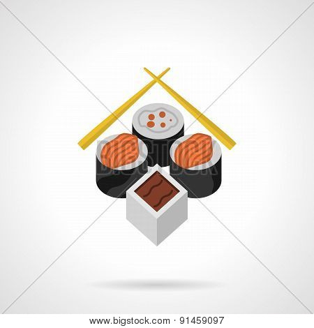 Sushi flat color vector icon