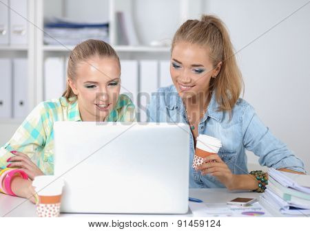 Two women working together at office, sitting