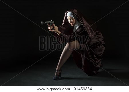 Young Nun Shoting From Gun