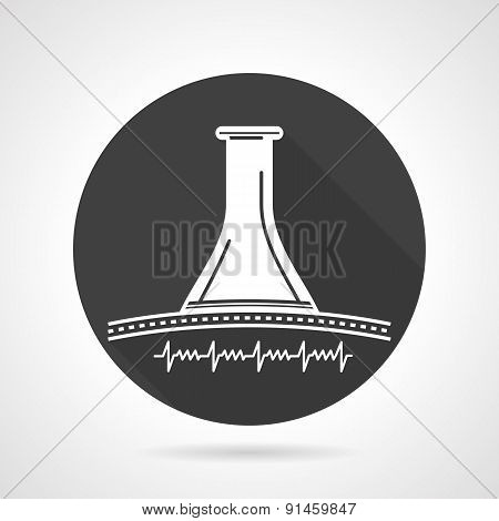 Stethoscope black round vector icon