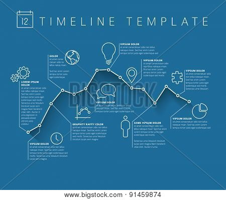 Vector Infographic timeline report template with minimalistic graph