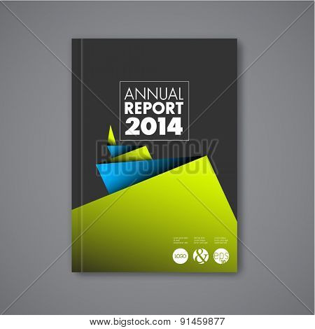 Modern Vector abstract brochure / book / flyer design template with blue and green paper - dark version