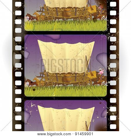 Vintage western film strip with an covered wagon in prairie. Vertical seamless pattern background. Vector illustration