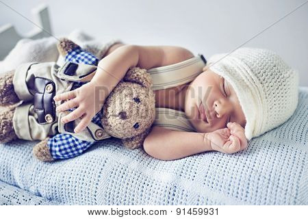 Portrait of a little sweet newborn baby