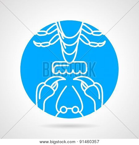 Crayfish elements round vector icon