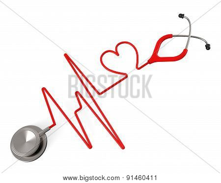 Heart Stethoscope Indicates Health Check And Affection
