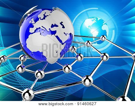 Worldwide Network Indicates Global Communications And Communicate