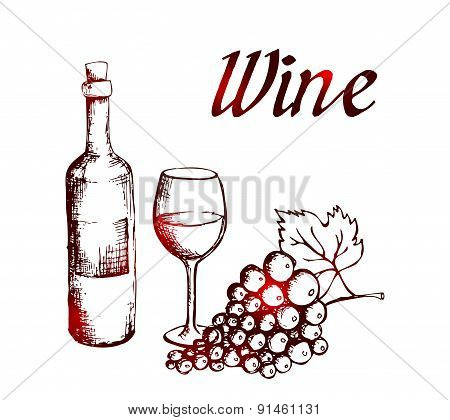 Sketch of wine bottle, glass and grapes