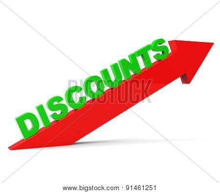 Increase Discount Indicates Cut Rate And Arrow