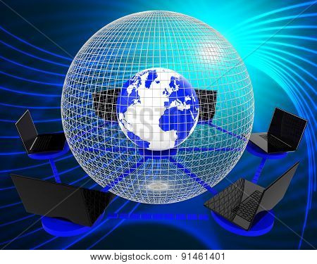 Global Computer Network Indicates Worldwide Planet And Processor