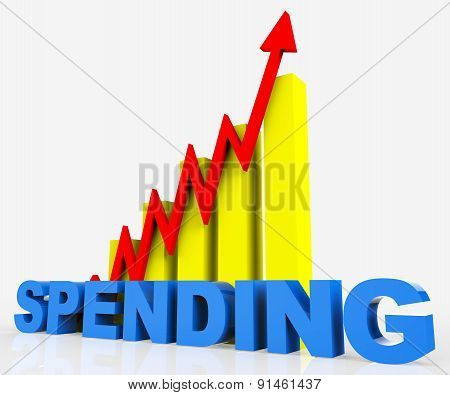 Increase Spending Indicates Progress Report And Diagram