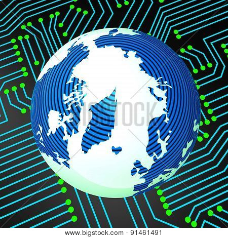 Circuit Board Means Worldwide Electronics And Earth