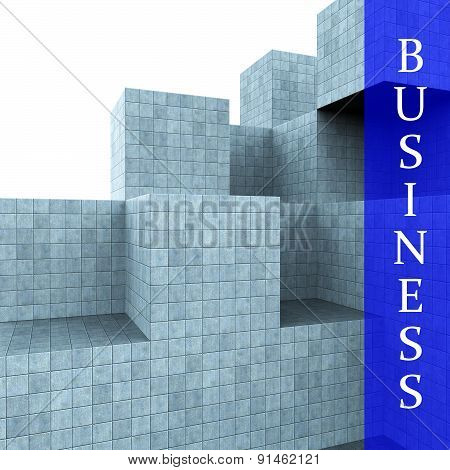 Business Blocks Design Means Building Activity And Construction