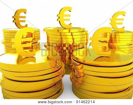 Euro Cash Represents Money Revenue And Wealth